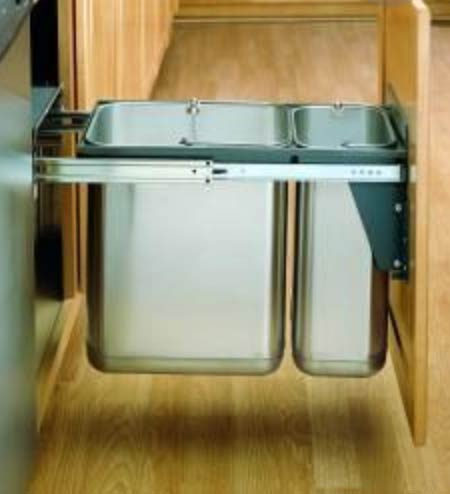 Image of modern pull out waste bins used in a blog post by forthefloorandmore.com