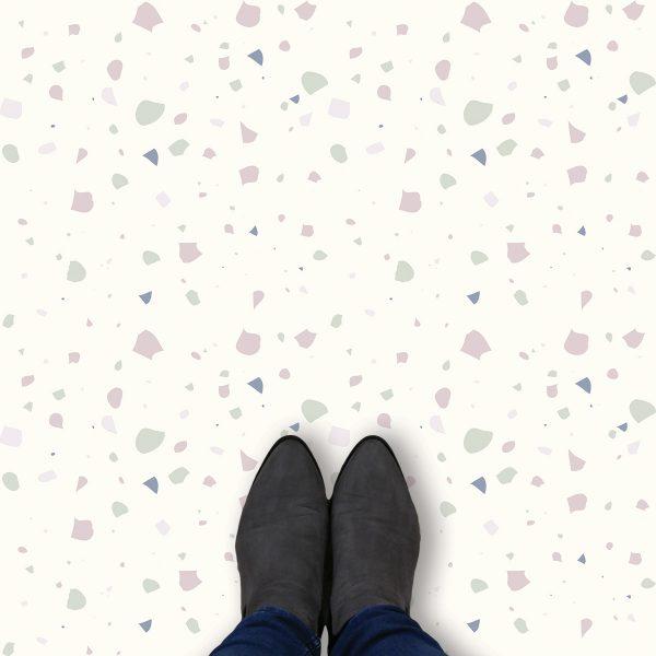 Image of Noemi terrazzo style italian tile vinyl flooring design by forthefloorandmore.com