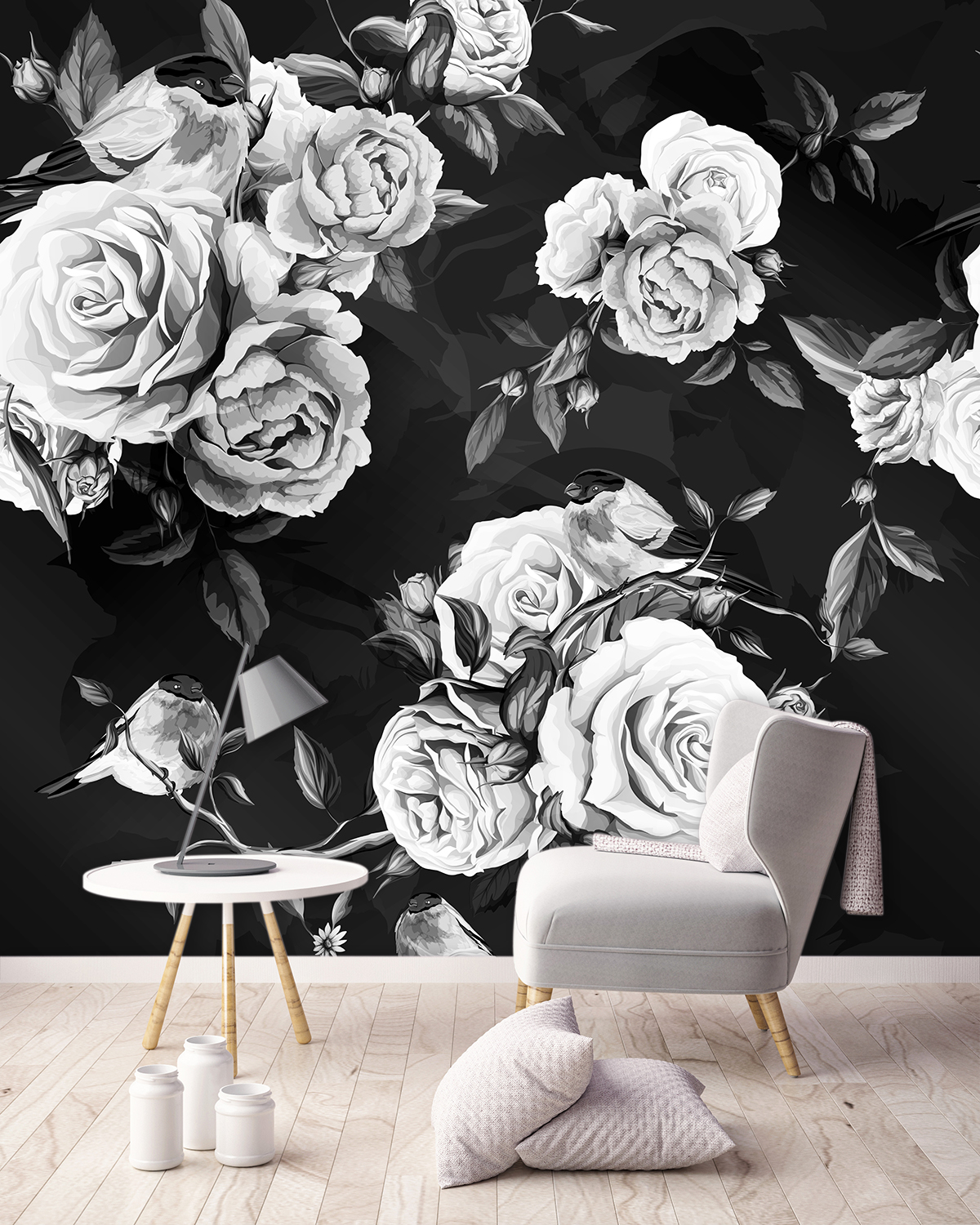 Image of Ilaria large scale floral pattern wallpaper mural design from forthefloorandmore.com used in a blog post about this years hot trend of large scale floral wallpapers.