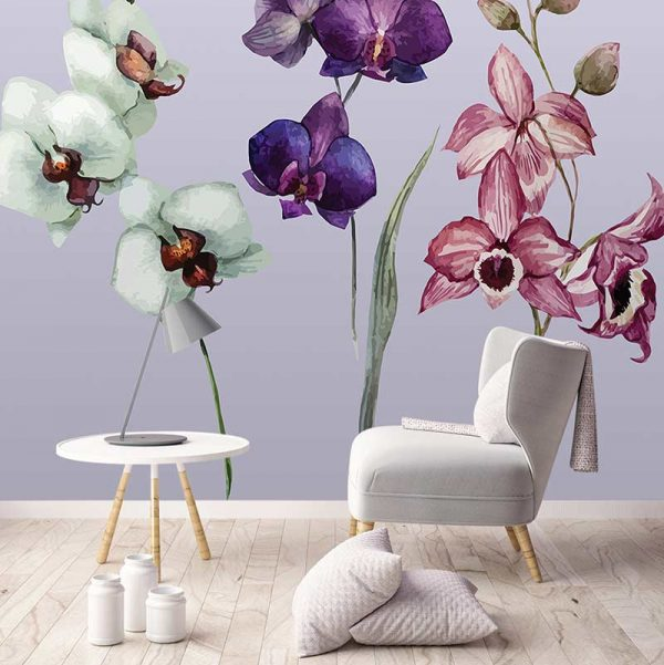 Image of Camille large scale floral pattern wallpaper mural design from forthefloorandmore.com