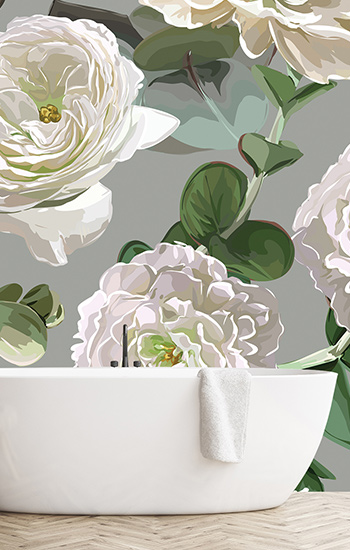 Image of large floral wallpaper and flower murals exclusively from forthefloorandmore.com