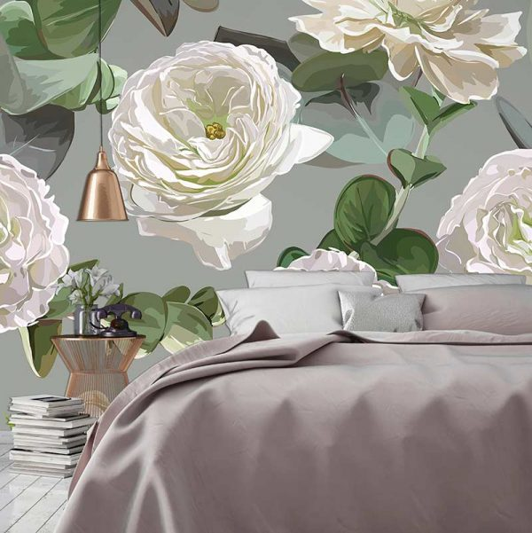 Image of Karina large scale floral pattern wallpaper mural design from forthefloorandmore.com