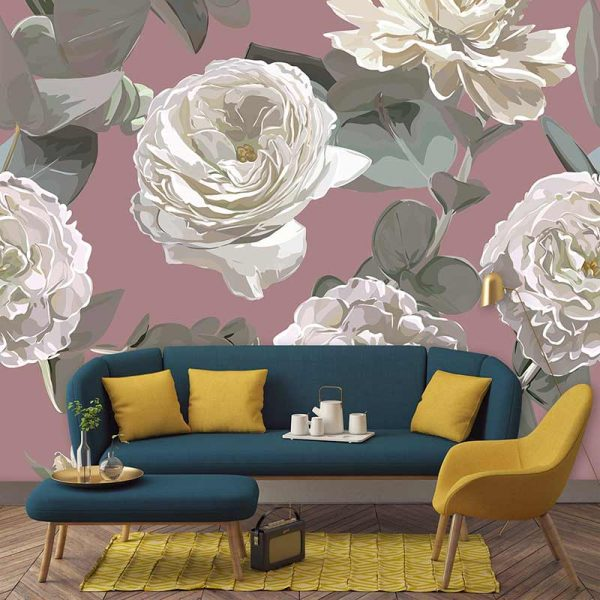 Image of Giada large scale floral pattern wallpaper mural design from forthefloorandmore.com