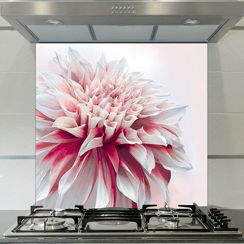 Image of Cristen large scale floral pattern design as a printed glass splashback from forthefloorandmore.com