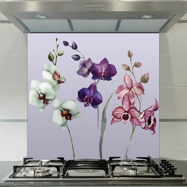 Image of Camille large scale floral pattern glass splashback design from forthefloorandmore.com