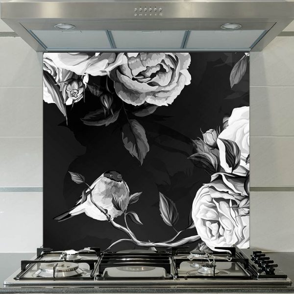 Image of Ilaria large scale floral pattern printed glass splashback design from forthefloorandmore.com