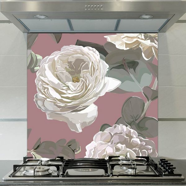 Image of Giada large scale floral pattern glass splashback design from forthefloorandmore.com