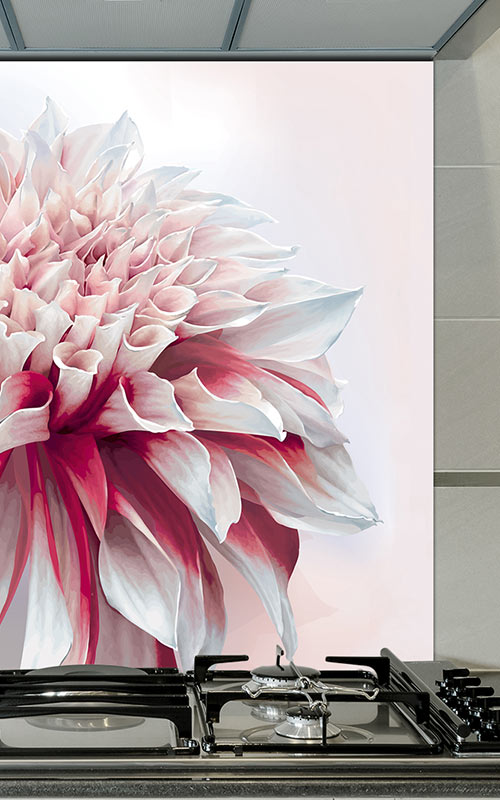 Image of Cristen large scale floral design glass splashback from forthefloorandmore.com