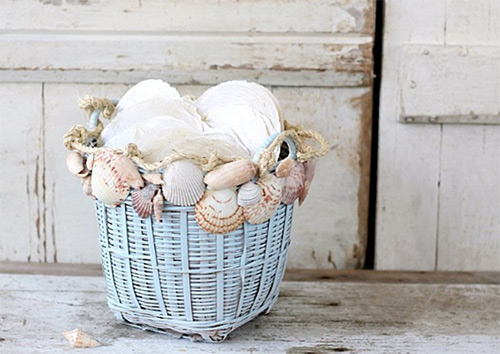 Image of Sea shells in a basket used in a blog post by forthefloorandmore.com