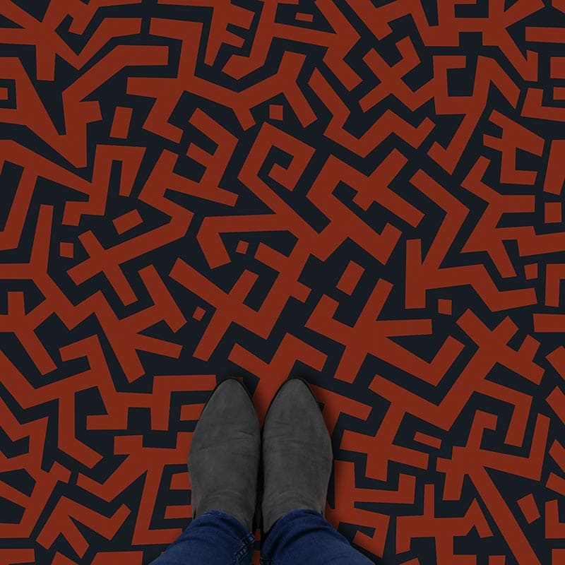 Image of Esta terracotta coloured patterned vinyl flooring design by forthefloorandmore.com