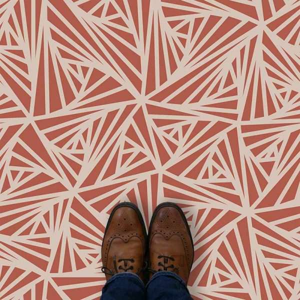 Image of Carlla design terracotta coloured patterned vinyl flooring design by forthefloorandmore.com