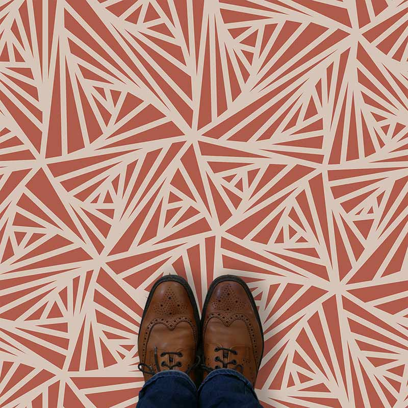 Image of Carlla design terracotta vinyl flooring design by forthefloorandmore.com