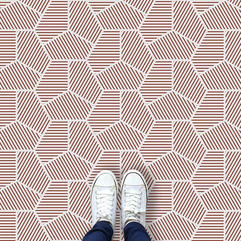 Image of Cecca design terracotta coloured patterned vinyl flooring design by forthefloorandmore.com