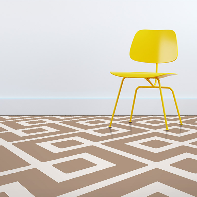 Image of Dahna design terracotta coloured patterned vinyl flooring design by forthefloorandmore.com shown as a vibrant neutral earthy coloured vinyl flooring