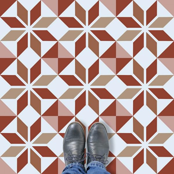 Image of Ealda design terracotta coloured patterned vinyl flooring design by forthefloorandmore.com