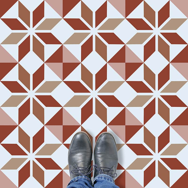 Image of Ealda design terracotta vinyl flooring design by forthefloorandmore.com
