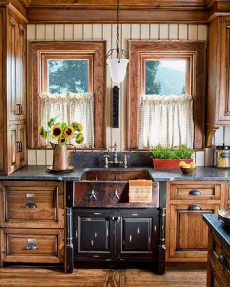 An image of a wood filled farmhouse kitchen used in a blog post about getting that rustic farmhouse look by forthefloorandmore.com