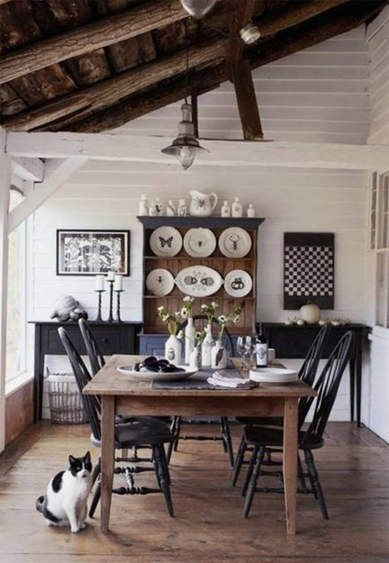 An image of a wooden table and farmhouse kitchen used in a blog post about getting that rustic farmhouse look by forthefloorandmore.com