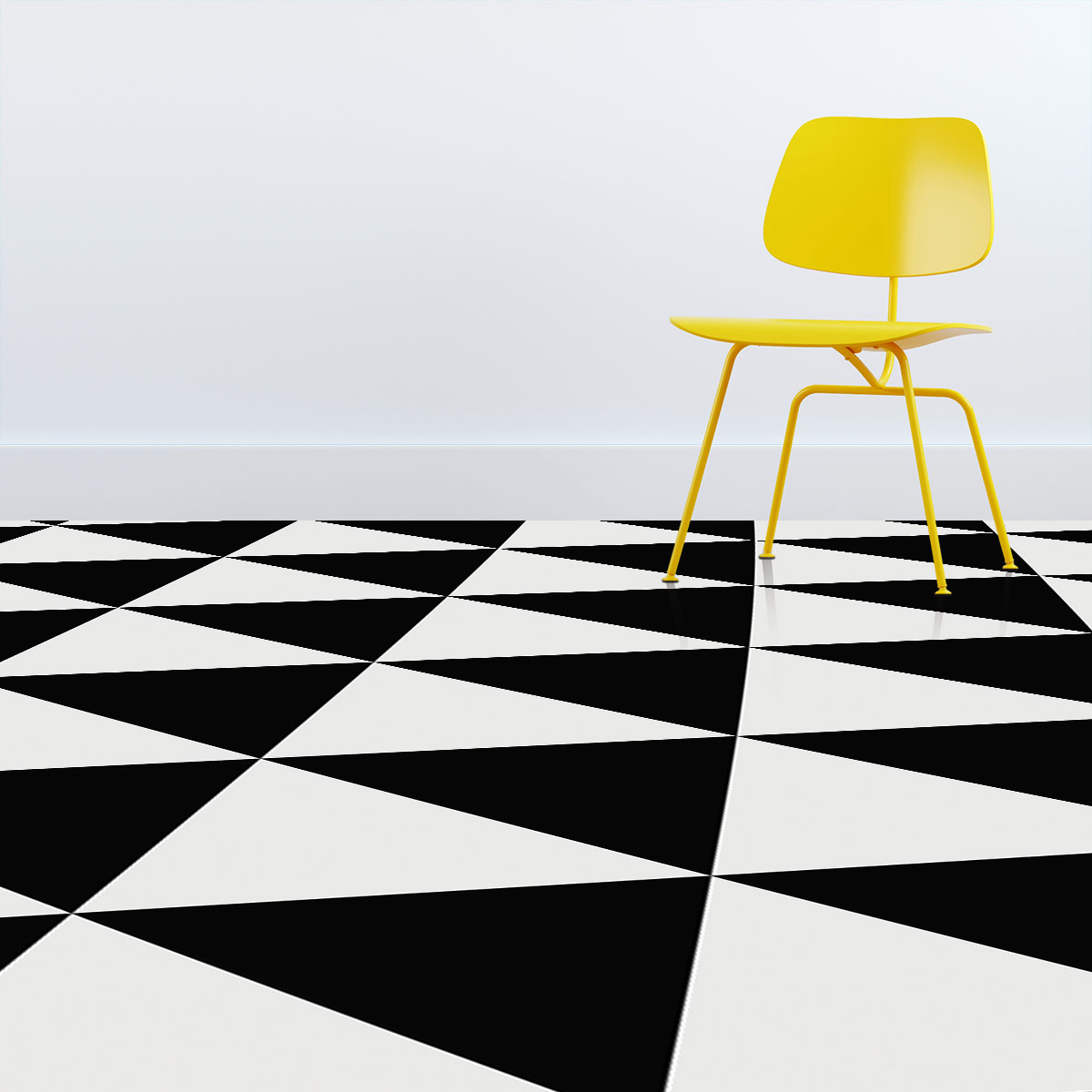 Image showing a bright yellow chair on top of black and white triangle vinyl flooring from forthefloorandmore.com