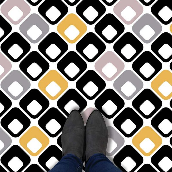 Image of Trafford black and white patterned vinyl flooring exclusively from For the Floor and More