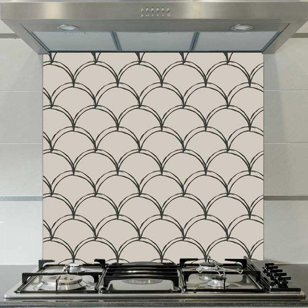Image of Livia mermaid tile pattern printed glass splashback by forthefloorandmore.com