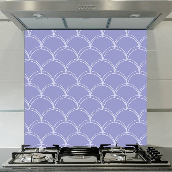 Image of Lovis mermaid tile pattern printed glass splashback by forthefloorandmore.com