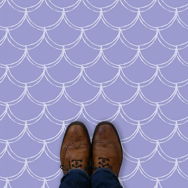 Image of Lovis mermaid tile pattern printed vinyl flooring by forthefloorandmore.com