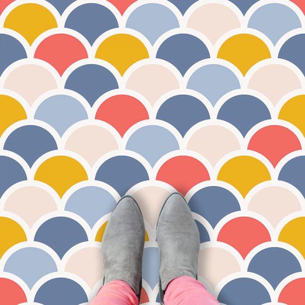 Image of Nova mermaid tile pattern printed vinyl flooring by forthefloorandmore.com