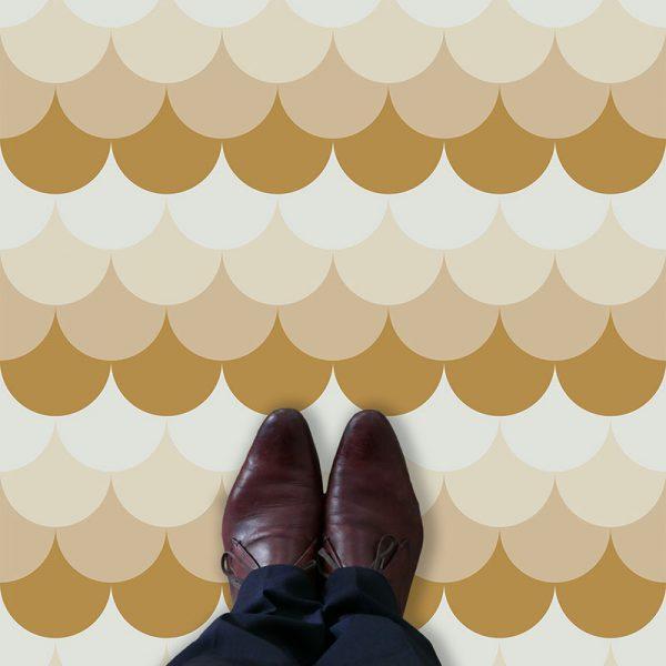 Image of Ines mermaid tile pattern printed vinyl flooring by forthefloorandmore.com