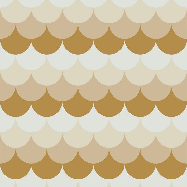 Image of Ines mermaid tile scalloped pattern used in a range of home decor products by For the Floor and More