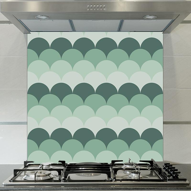 Image of Juni mermaid tile pattern printed glass splashback by forthefloorandmore.com