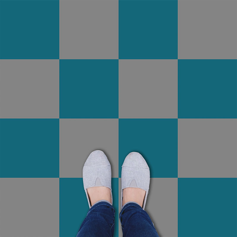 Image of a colour variation of our Geo: Chess classic checkerboard pattern available in any custom colour and square size. Exclusive from forthefloorandmore.com