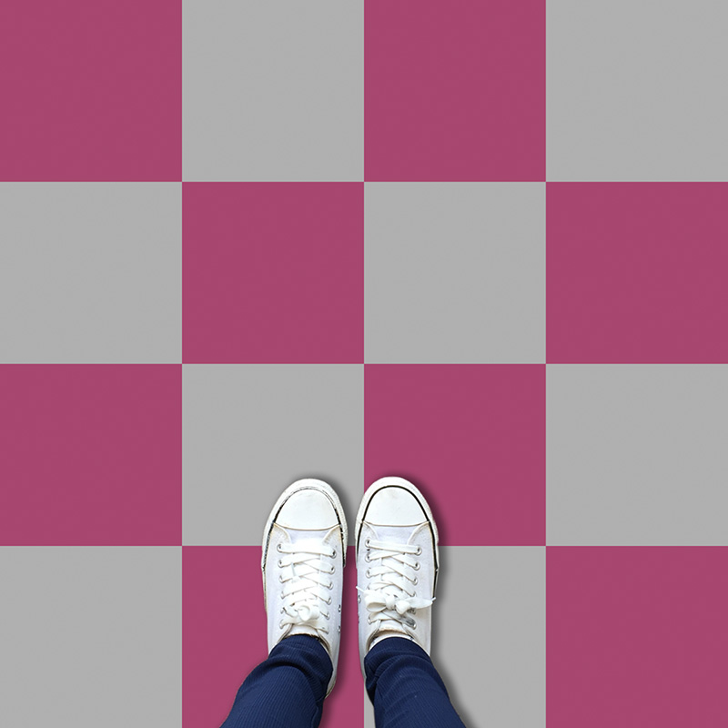 Image of a contemporary colour variation of our Geo: Chess classic checkerboard pattern available in any custom colour and square size. Exclusive from forthefloorandmore.com