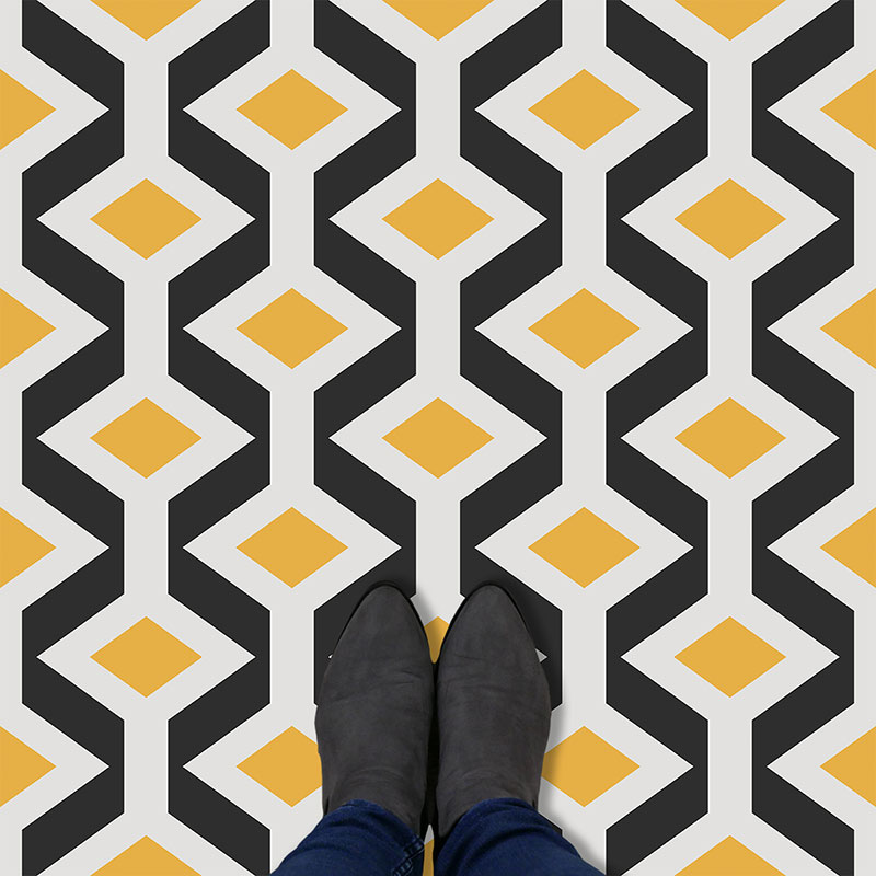 Image of Hoxton printed geometric flooring exlusively from forthefloorandmore.com