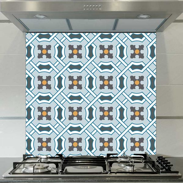 Image of Kittie victorian tile design available as a colourful and vibrant printed glass splashback