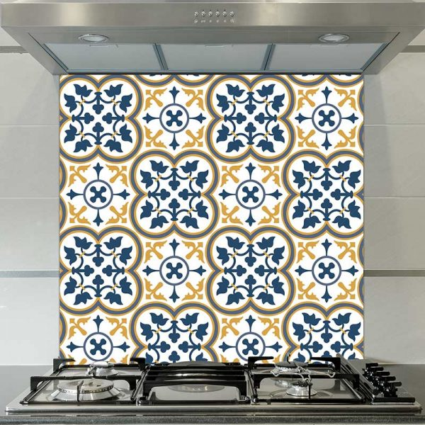 Image of Katie victorian tile design available as a colourful and vibrant printed glass splashback