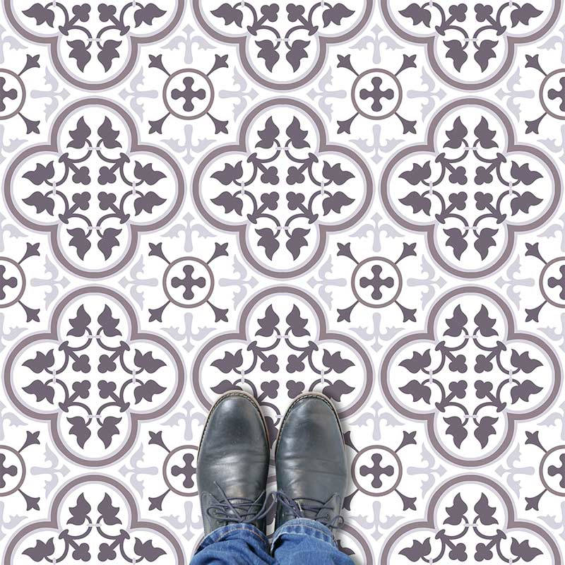 Image of a contemporary colour variation of our Victorian ornate classic tile vinyl flooring patterns available in any custom colour. Exclusive from forthefloorandmore.com
