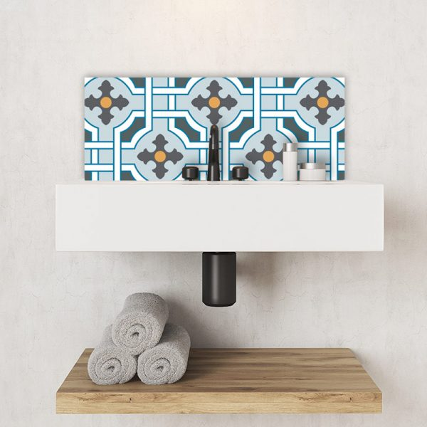 Image of Kittie victorian tile design available as a colourful and vibrant printed glass Feature Tile