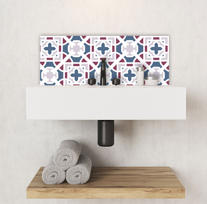 Image of Docia victorian tile design available as a colourful and vibrant printed glass Feature Tile