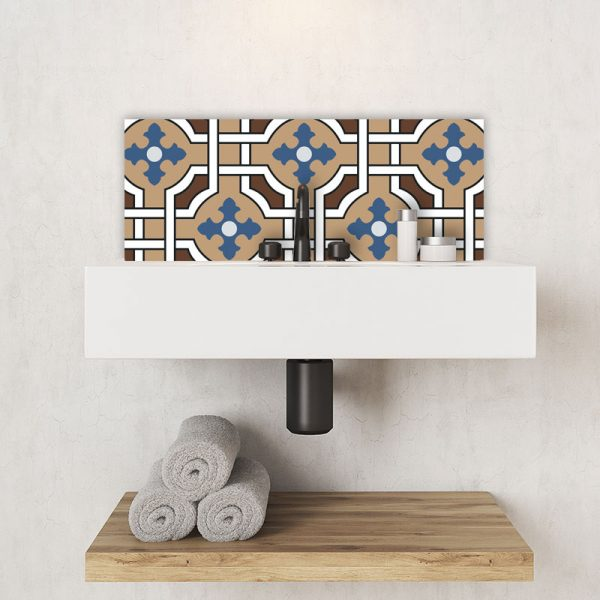 Image of Effie victorian tile design available as a colourful and vibrant printed glass Feature Tile