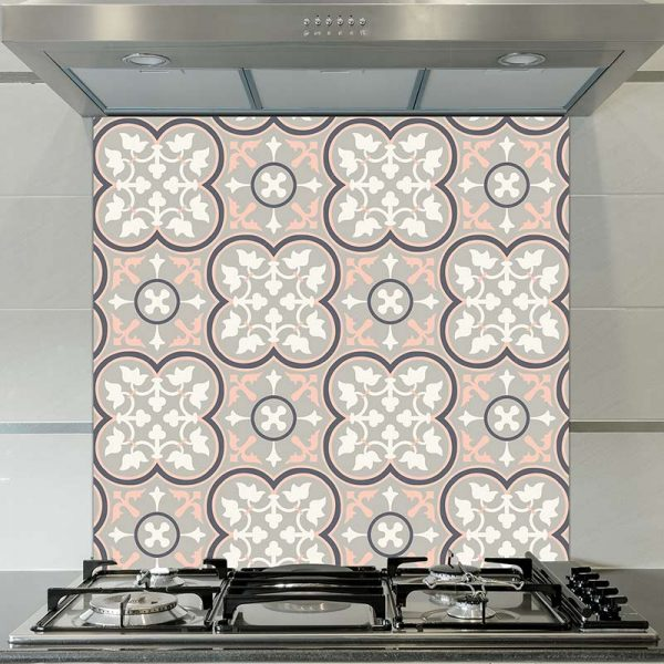 Image of Lottie victorian tile design available as a colourful and vibrant printed glass splashback