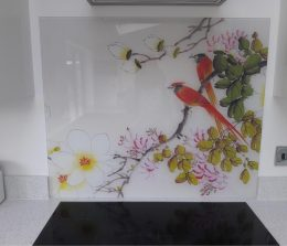 Image of Ayame printed glass splashback customer photo used in the testimonial page Loved By You at forthefloorandmore.com