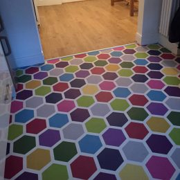 Image of custom coloured Dials flooring customer photo used in the testimonial page Loved By You at forthefloorandmore.com