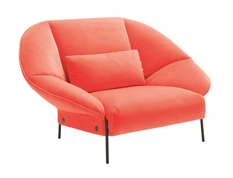 Image of as luxurious Pantone Living Coral coloured chair used in a blog post by forthefloorandmore.com