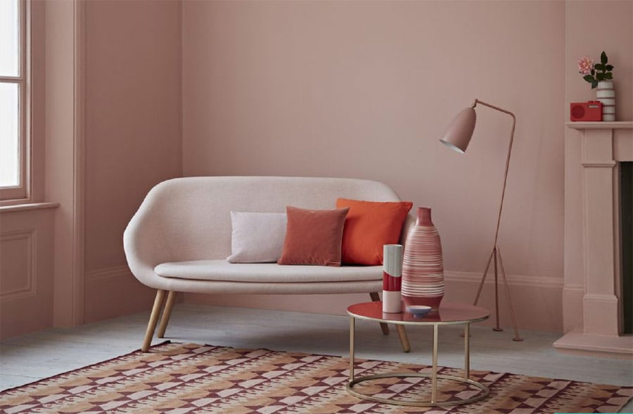 Image showing Pantone's Living Coral colour living space used in a blog post about colour and style 2019 from forthefloorandmore.com