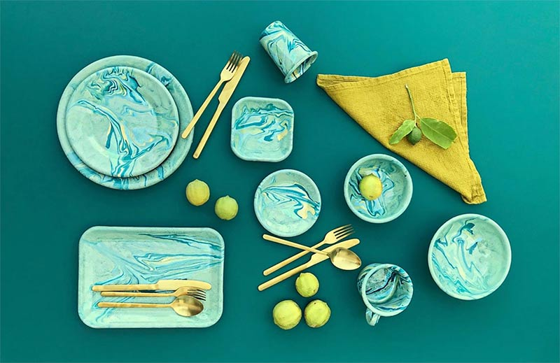 Image of colourful home marble dinnerware used in a blog post about colour choices and trends for SS2019