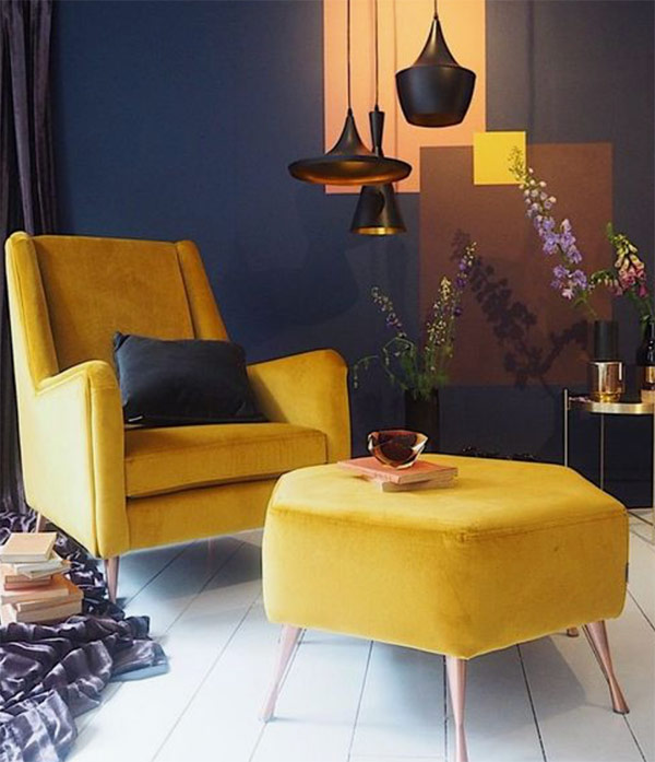Image of a mustard chair and footstool used in a blog post about home decor colour SS19 by forthefloorandmore.com