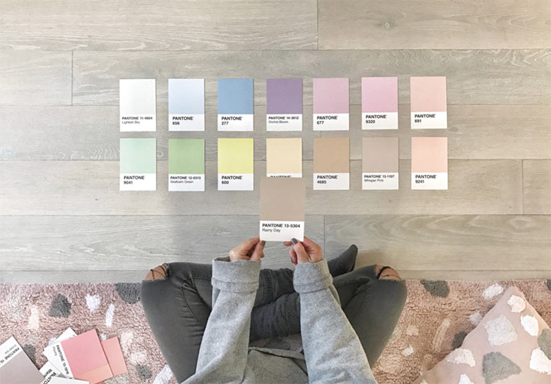Image showing Pantone Pastel Colour Shades used in a colour guide SS19 blog post by forthefloorandmore.com