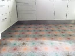Image showing a custom coloured Nerine floral vinyl flooring
