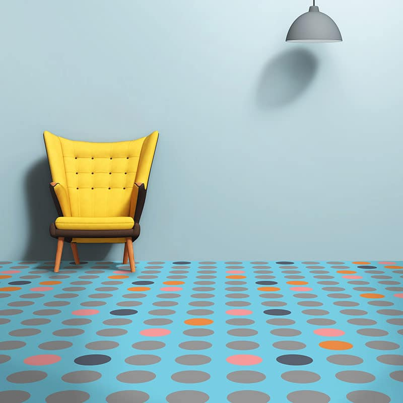 Image of our exclusive Millions vinyl flooring used in a blog post about Tutti Frutti flooring from For the Floor & More